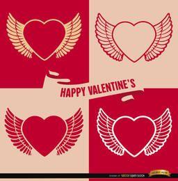 4 fondos de corazones alados de San Valentín