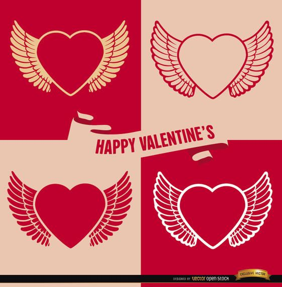 4 Valentine?s winged heart backgrounds