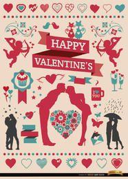 Valentinstag Feier Elemente gesetzt
