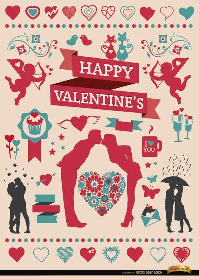 Conjunto de elementos de celebración de San Valentín