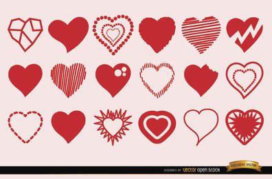 18 Herzsymbole in verschiedenen Stilen