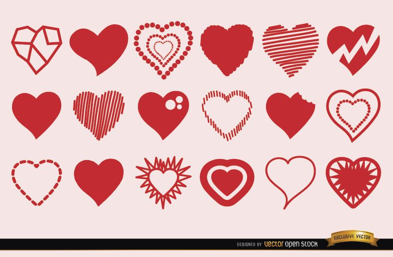 18 Heart Symbols In Different Styles Vector Download