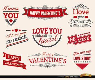 9 etiquetas de cintas de amor de San Valentín