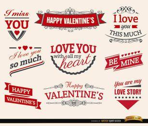 9 Valentinstag Liebe Bänder Etiketten
