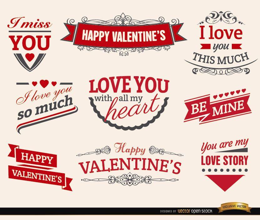 9 Valentine?s love ribbons labels