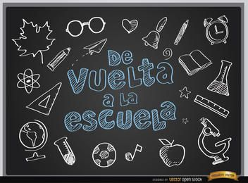 Back to school blackboard background Spanish