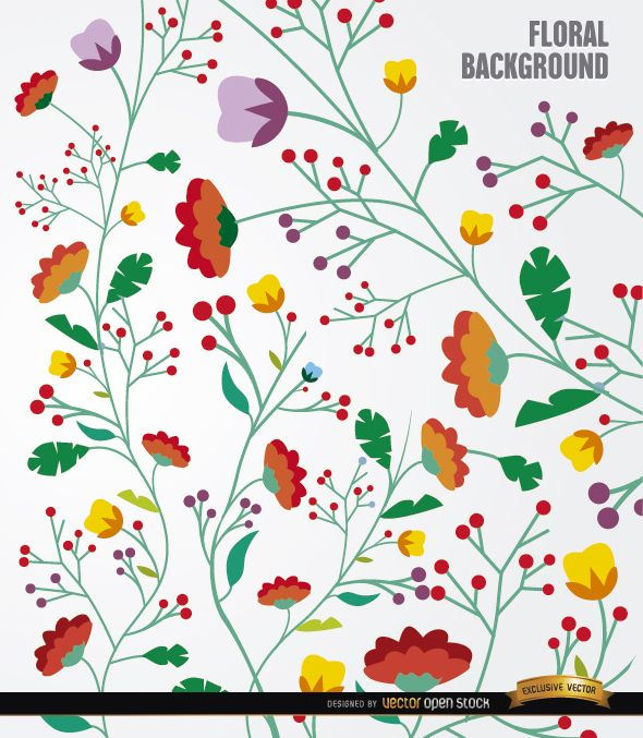 Colorful flowers long stems background
