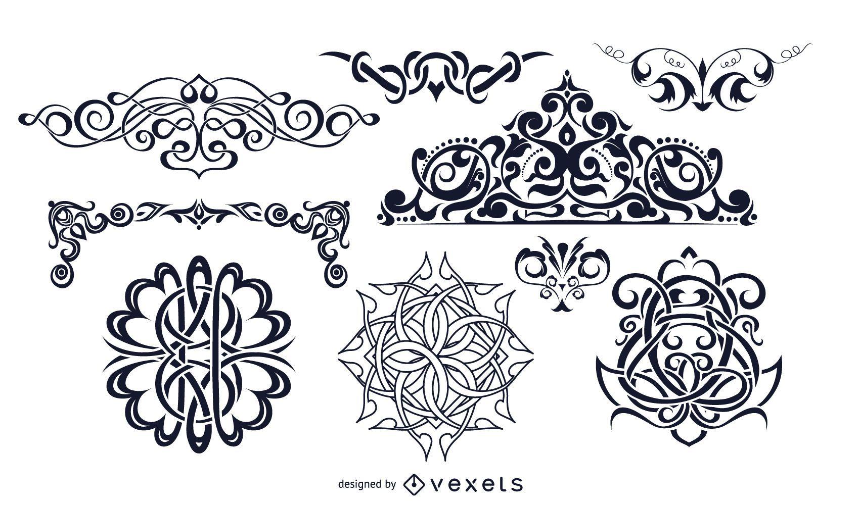 Conjunto de adornos decorativos vintage en blanco y negro