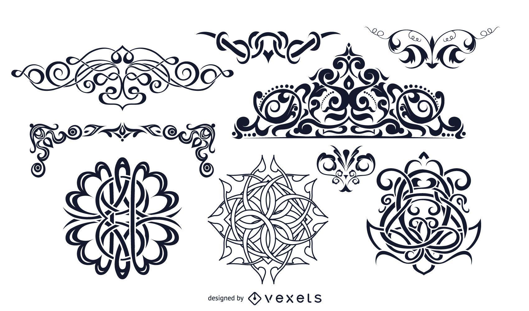 Conjunto de enfeites decorativos vintage preto e branco