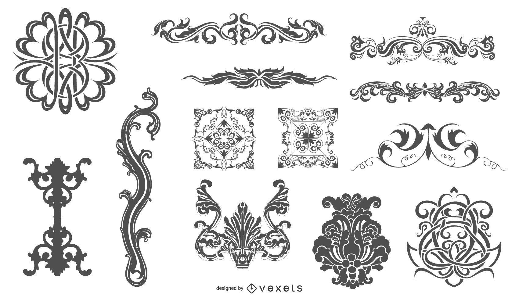 Paquete de adornos planos e incompletos de heráldica vintage