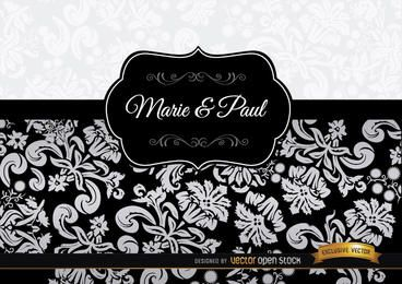 Black floral elegant invitation