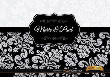 Invitación elegante floral negro