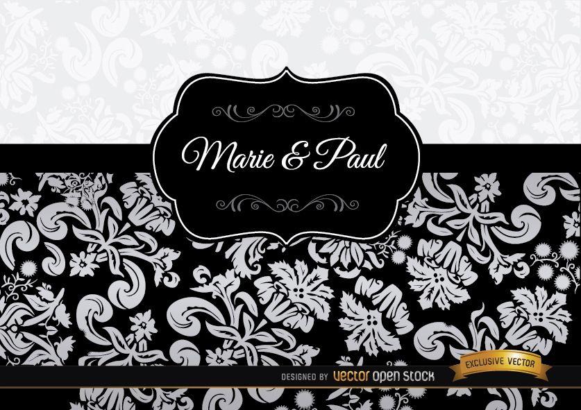 Invitación elegante floral negra