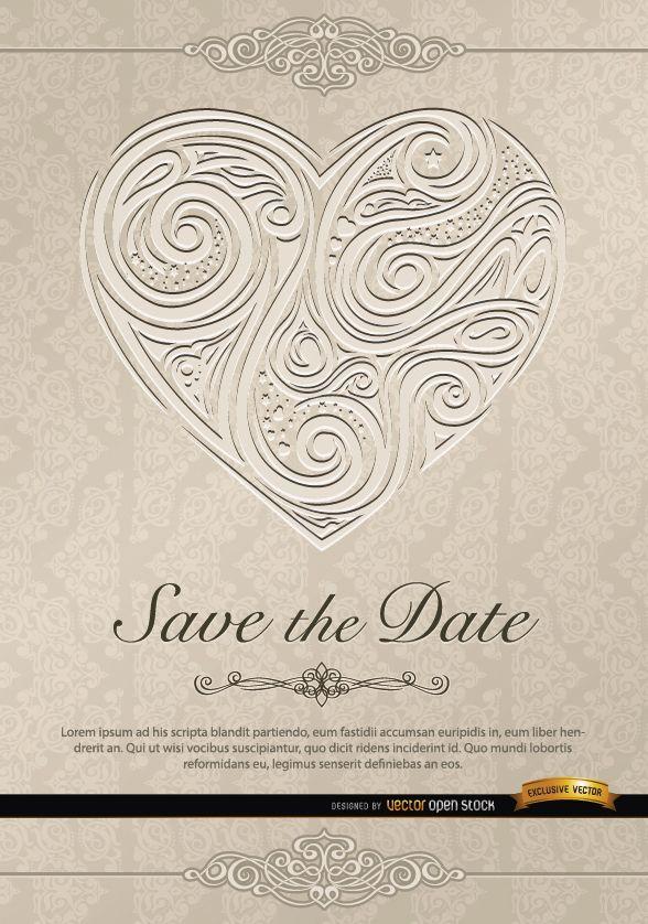 Invitación de boda de remolinos de corazón