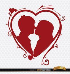 Besos pareja corazón remolinos de fondo