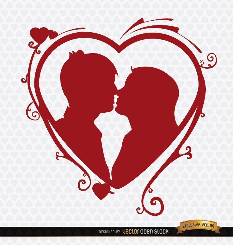 Kissing couple heart swirls background