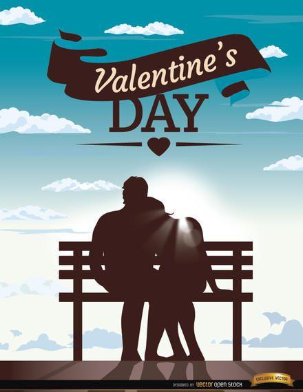 Blauer Himmel der Paarbank des Valentinsgrußes