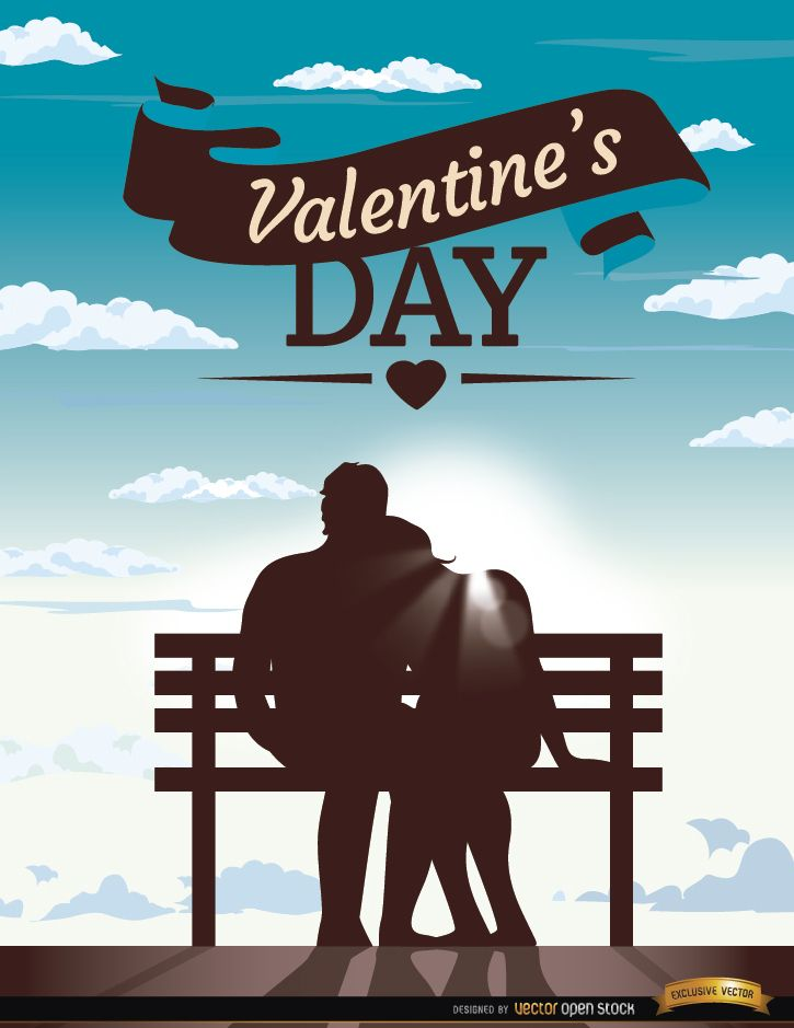 Valentine?s couple bench blue sky
