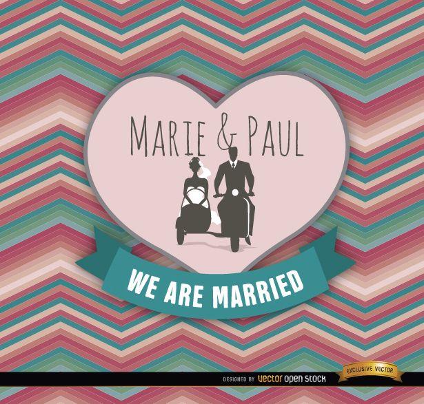 Sidecar couple colorful wedding invitation