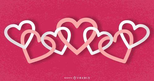 Corazón de cadena multicolor fondo de San Valentín