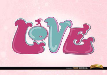 Liebe Amor rosa Tapete