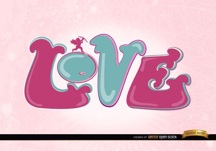Fondo de pantalla de amor cupido rosa