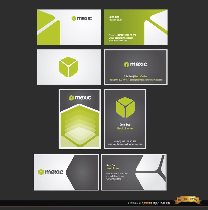 8 Cube business card template set