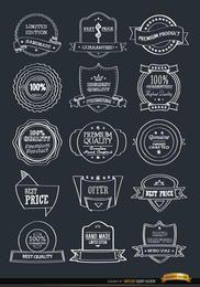 15 emblemas de insignias dibujadas a mano conjunto