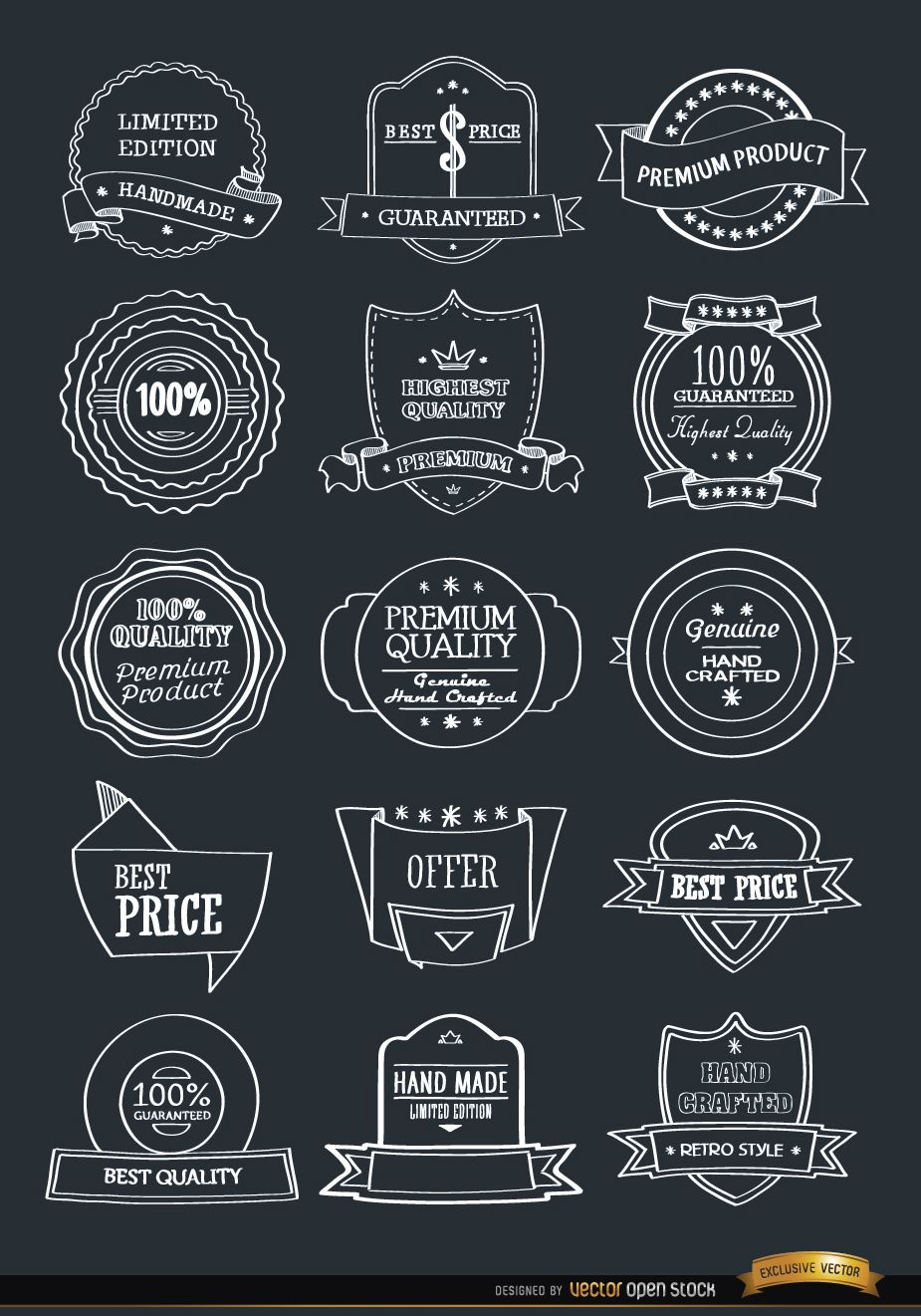 15 hand drawn badges emblems set