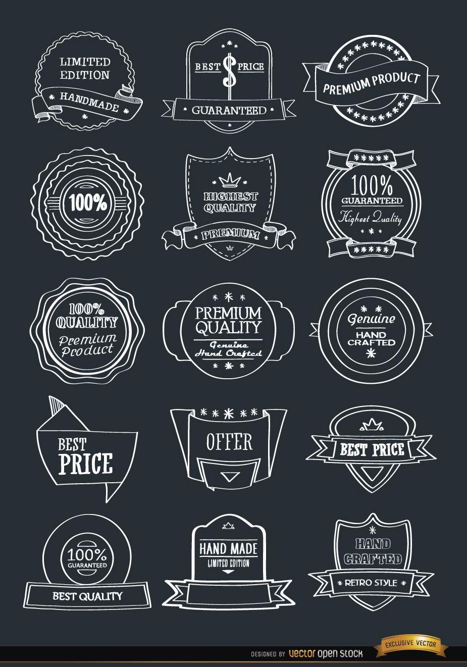Conjunto de 15 emblemas de insignias dibujadas a mano
