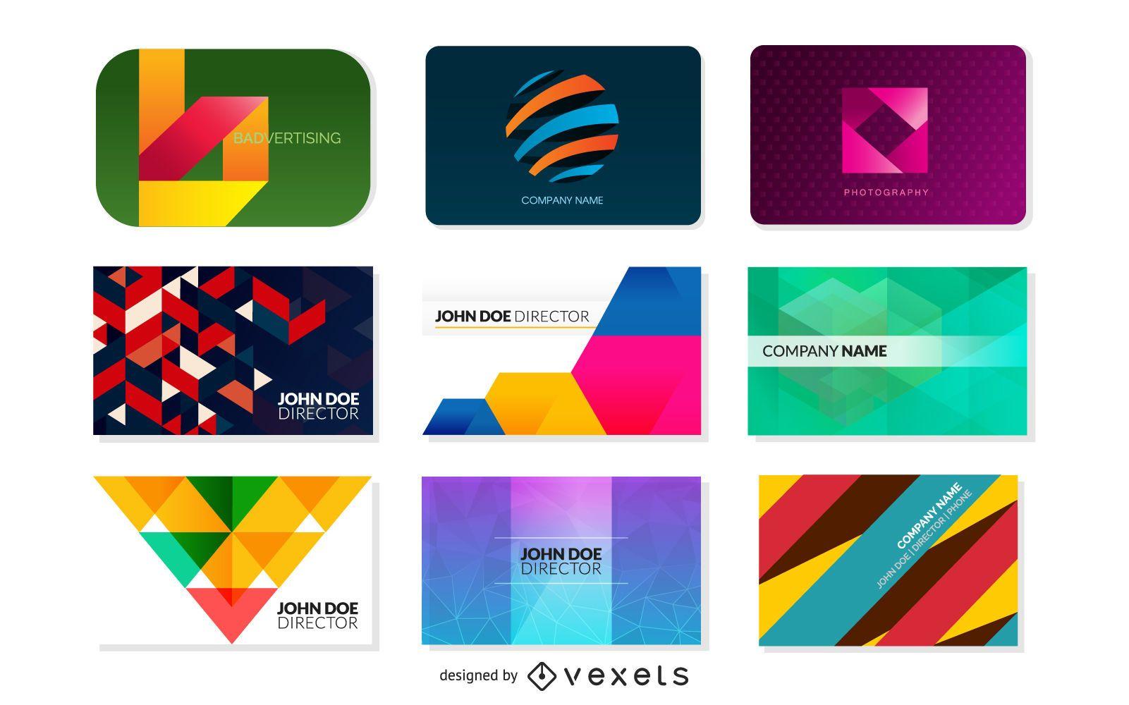 Paquete de tarjetas de visita modernas