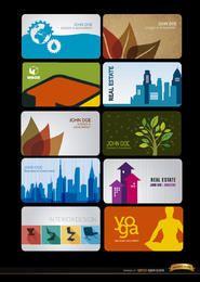 10 tarjetas de visita para diversas profesiones.