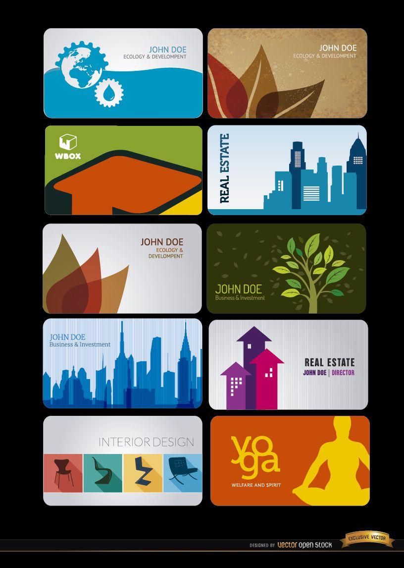 10 cartões de visita para várias profissões
