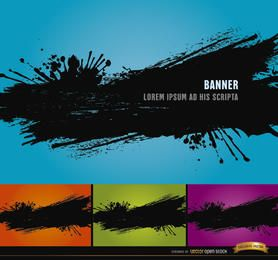 4 Black paint splatter backgrounds