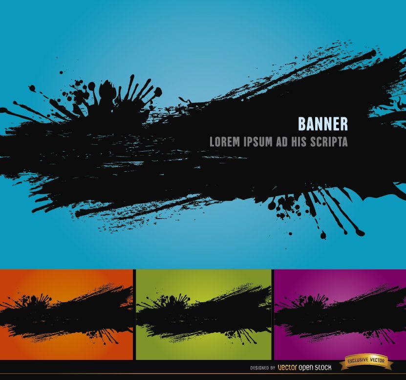 4 fondos de salpicaduras de pintura negra