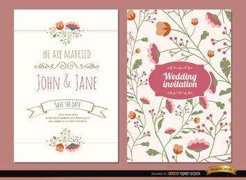 2 convites de casamento com flores