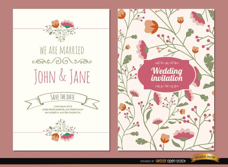 2 Wedding invitations with flowers