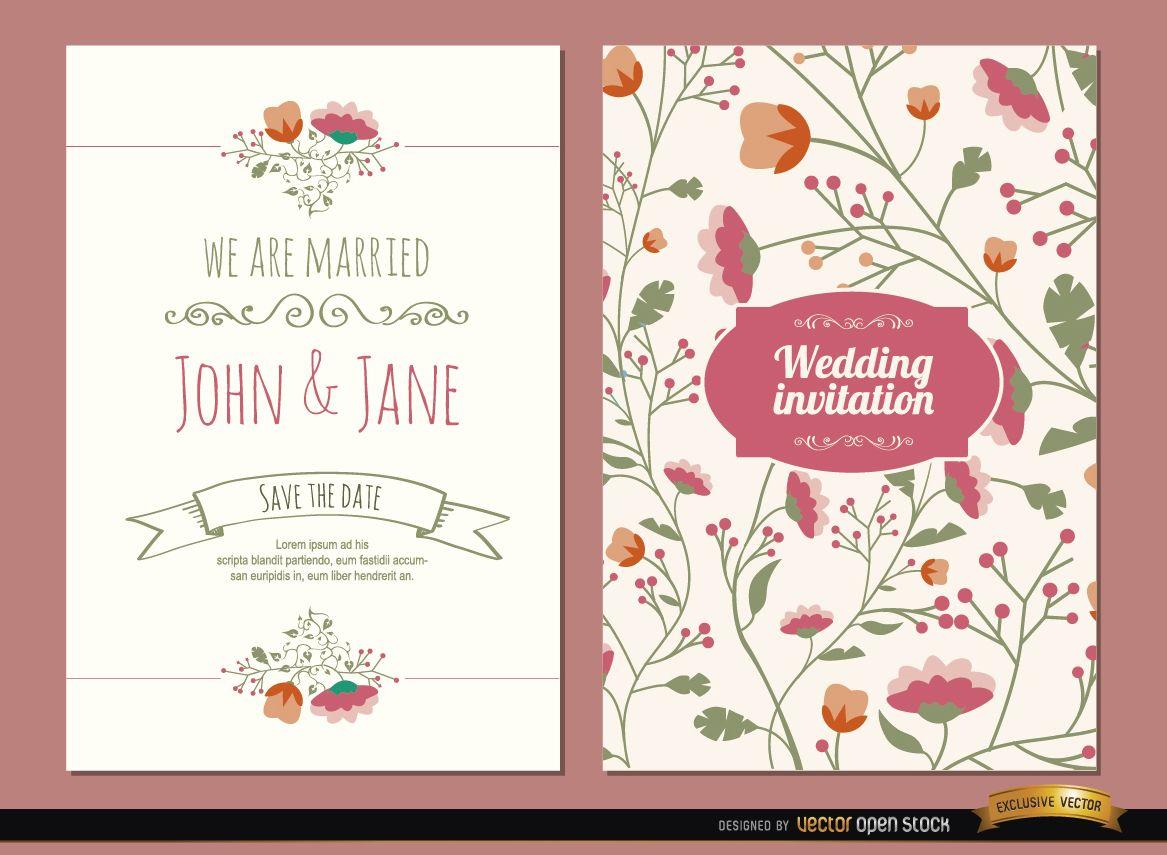 2 invitaciones de boda con flores