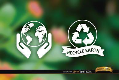 Etiquetas ecológicas naturaleza fondo borroso