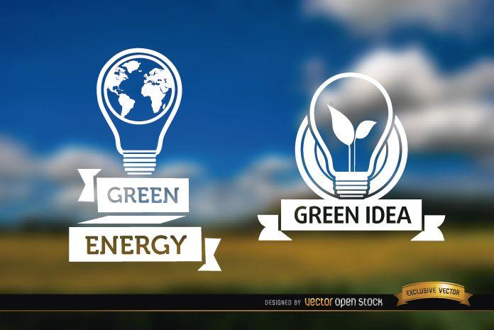 Glühbirnenetikett-Ökologie verwischte Hintergrund