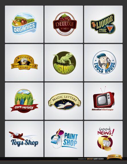 12 Logos sella productos negocio