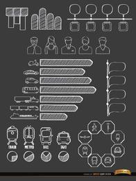 Meios de transporte doodle infográficos
