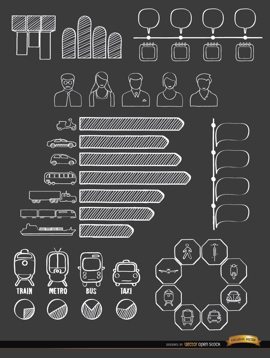 Transport means doodle infographics