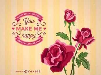 Modelo de cartão de dia dos namorados rosas realistas