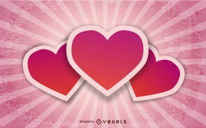 Coração grampeado dos namorados no fundo retrô