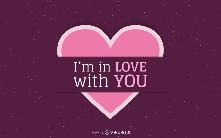 Cartão minimalista etiquetado do Valentim do coração
