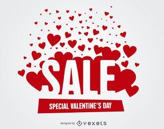Corazones rojos brillantes con etiquetas de venta de San Valentín