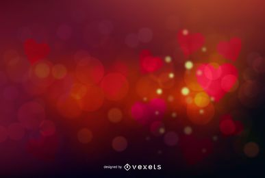 Colorful Glowing Bokeh Valentine Hearts Background