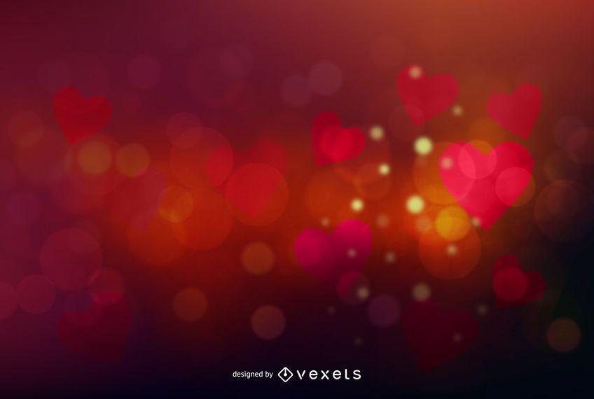 Bokeh colorido brillante fondo de corazones de San Valentín