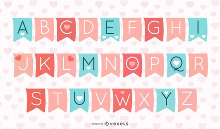 Valentines Typography on Separate Ribbon Banners